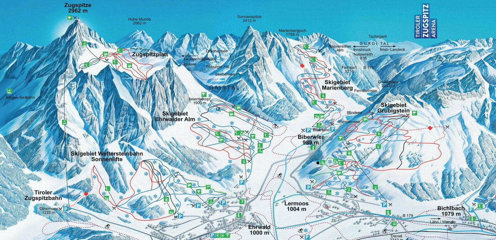 Pistenkarte Skigebiet Wetterstein