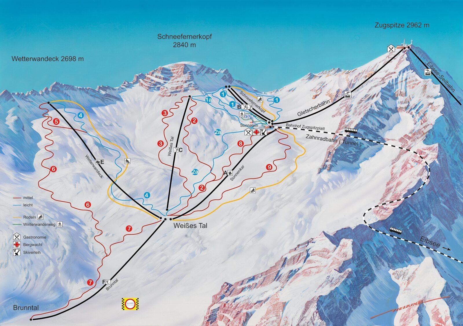 Pistenplan Zugspitze